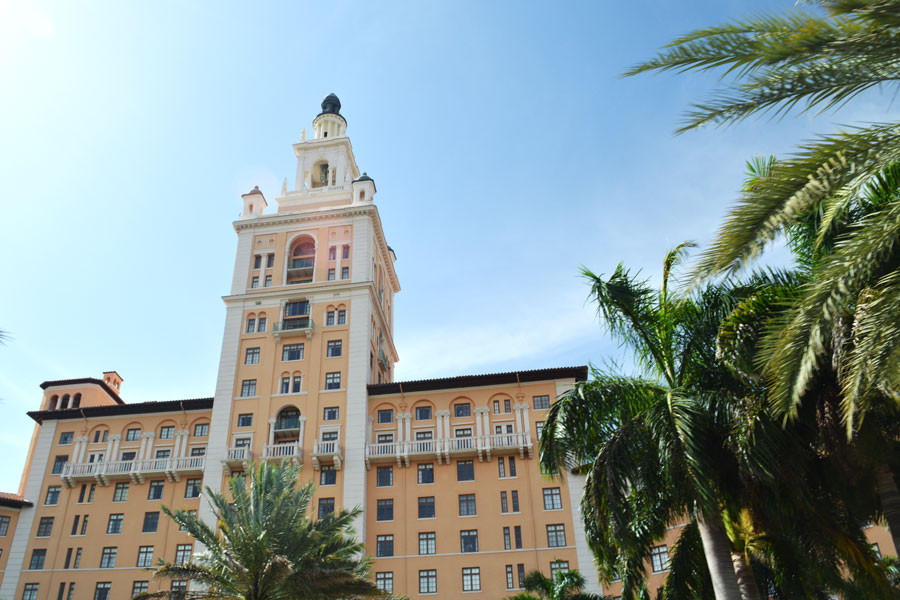 The Biltmore Hotel in Miami, Florida towers over the Coral Gables area and is a stop along the Miami Bus Tour.