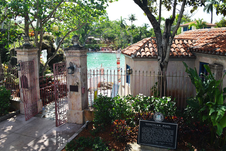 The Venetian Pool in Coral Gables, Florida is a natural spring pool cut out of the coral.