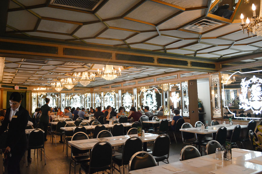 The interior of the Versailles Restaurant in Miami, Florida is decadent and simple, serving a great Sunday Brunch.