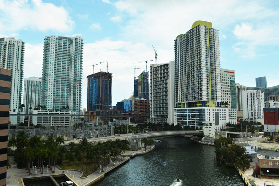 A look at the Miami Skyline from Brickell while riding the Big Bus Miami.