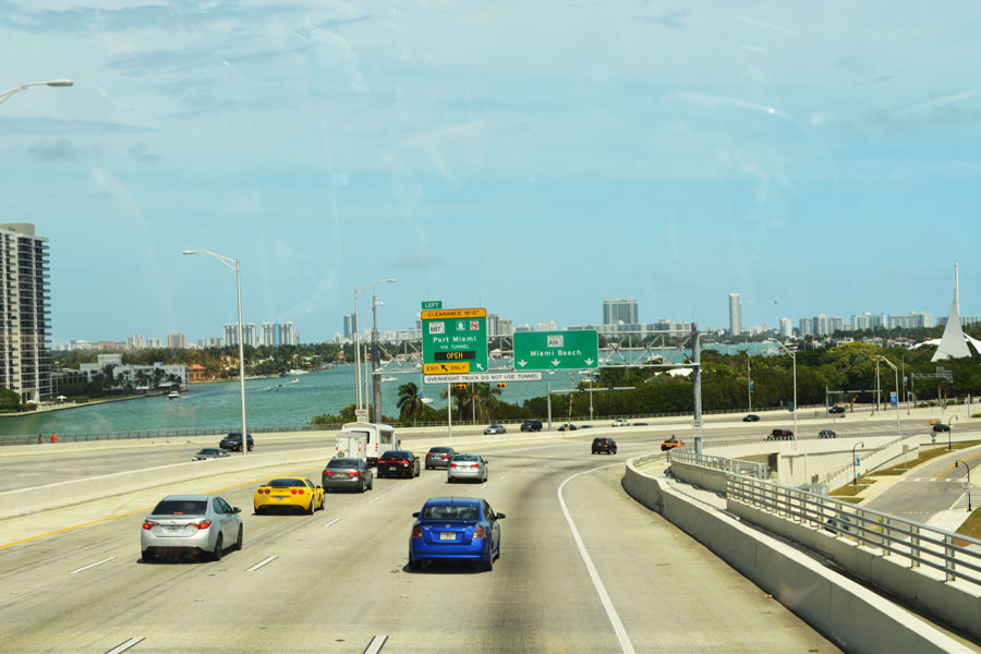 The road to Miami Beach on a rare day with no traffic.