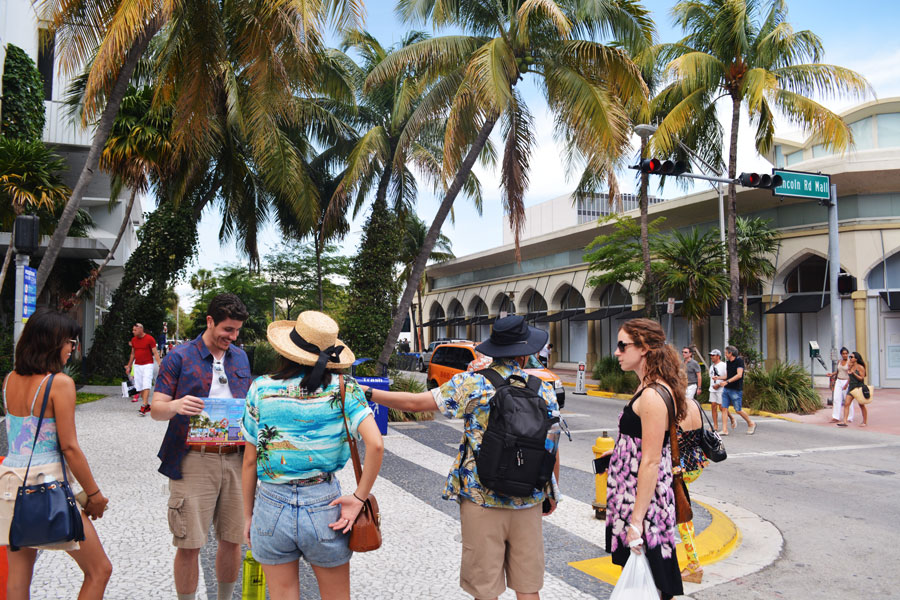 The group of Merevin's Miami Tourist Goodbye acts like true tourists in Miami, Florida.