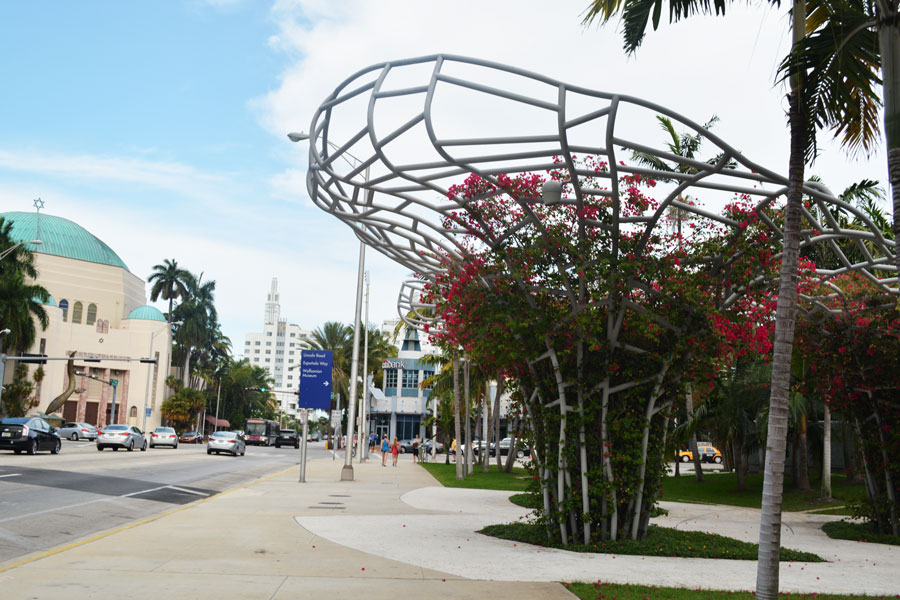The sculptural sound pieces in the Miami Soundscape by West 8 in front of the New World Symphony on Miami Beach.