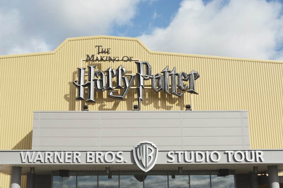 The entrance to the Harry Potter Warner Brothers Studio Tour London in Leavesden.