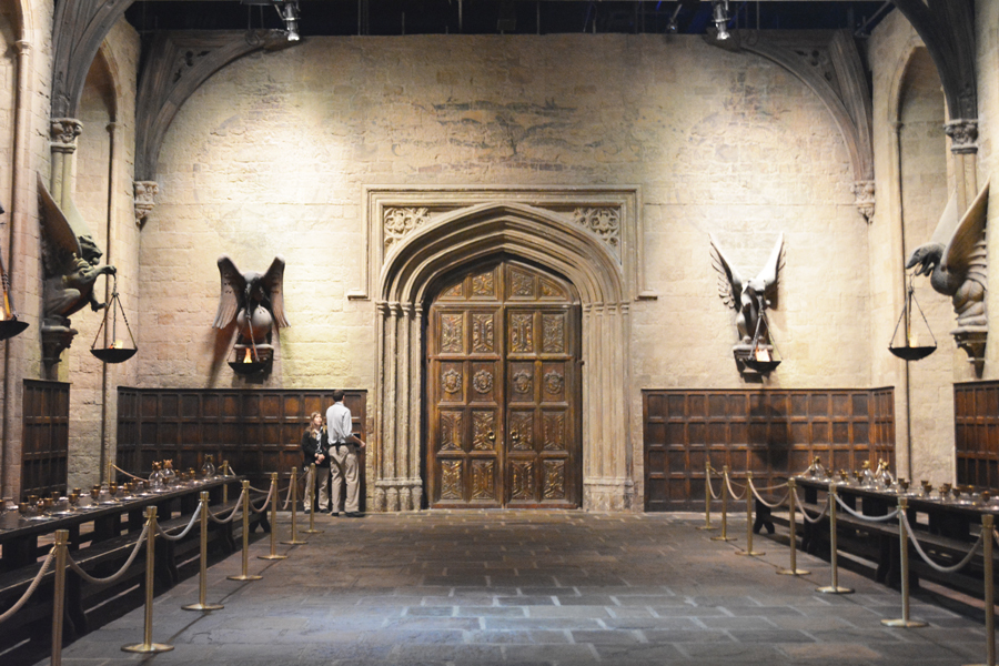 Inside the Great Hall in the Harry Potter London Studio Tour in Leavesden.