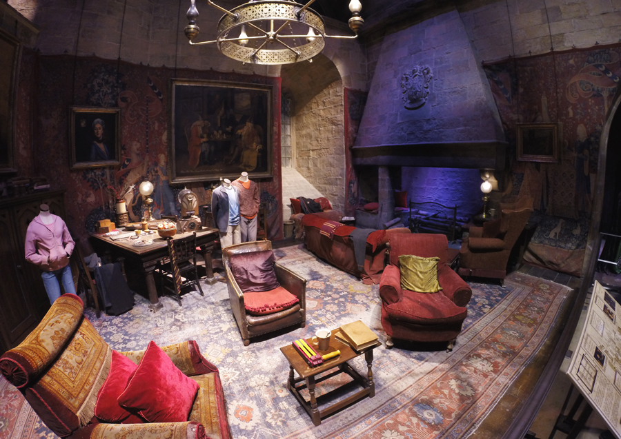 The Gryffindor Common Room at the Harry Potter studio tour in London, England.