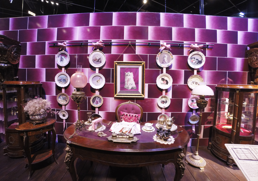 The office of Dolores Umbridge as seen in the Harry Potter movies and in the studio tour in London England.