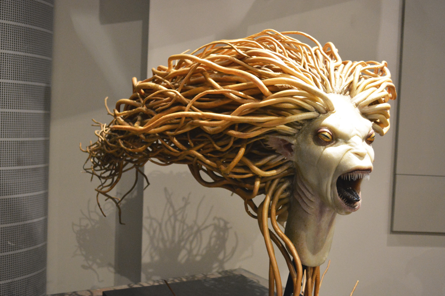 The head of a mermaid in the Harry Potter films within the special effects department in the studio tour.