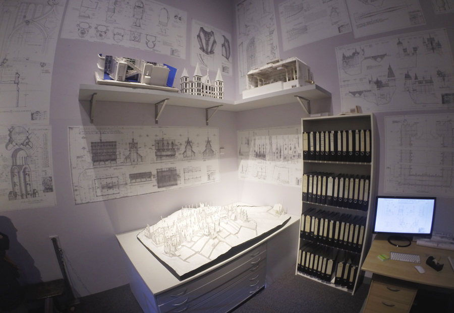 The beautiful schematic designs behind the world of Harry Potter seen during the studio tour.