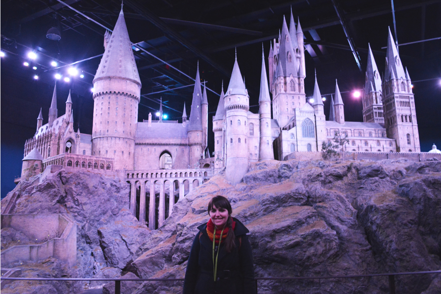 Meredith Lambert Banogon visits Hogwarts during her tour of the Harry Potter Leavesden Studio in north London.
