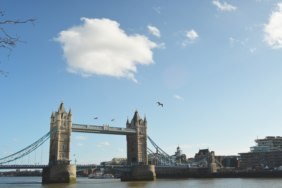 A view over the River Thames and Tower Bridge during a honeymoon in England.