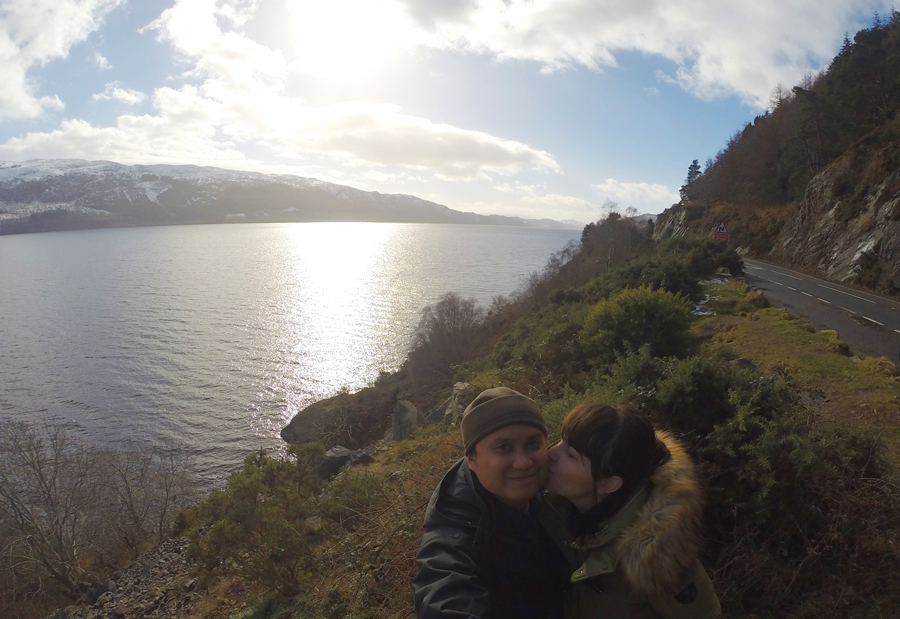Meredith Lambert Banogon and Kevin Banogon visit Loch Ness during their Honeymoon