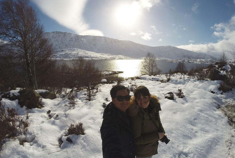 Kevin Banogon and Meredith Lambert Banogon make a roadside stop during their honeymoon road trip to the Isle of Skye.