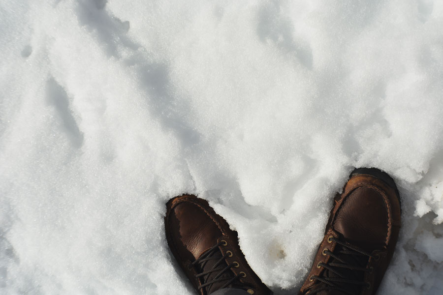 Kevin Banogon marches through the snow in his Danner boots while on his honeymoon.