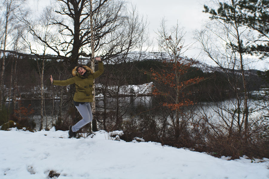 Meredith Lambert Banogon is excited about playing in the snow in Scotland.
