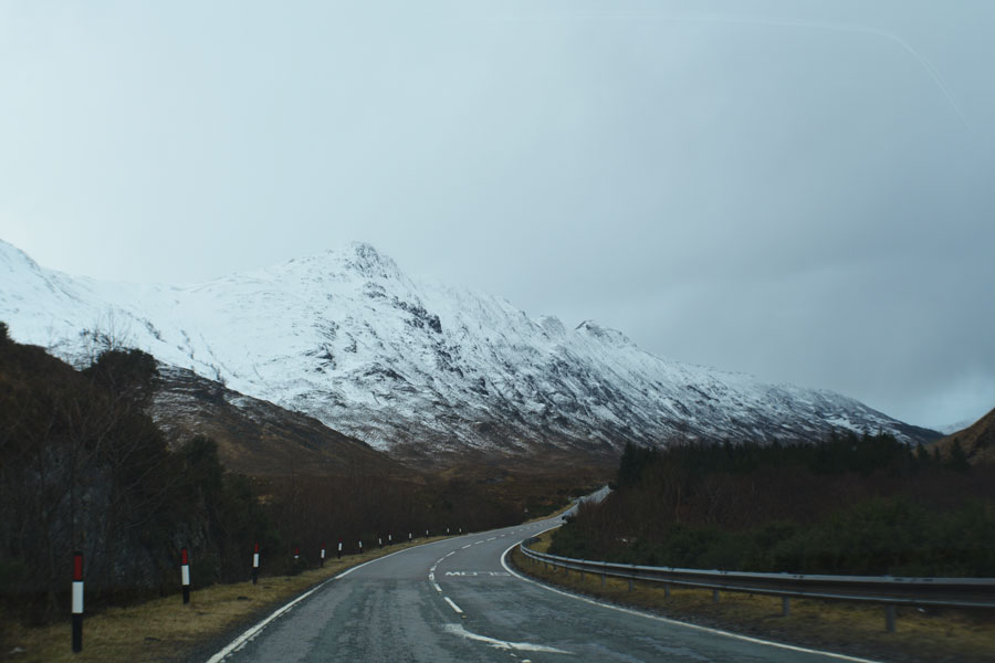 The ever winding road through the Scottish Highlands to the Isle of Skye.