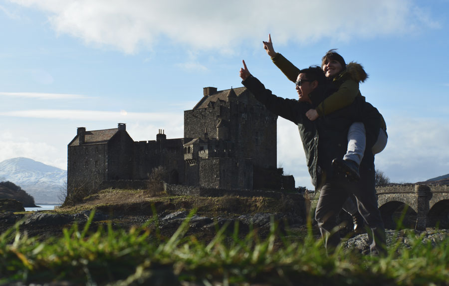 Meredith Lambert Banogon and Kevin Banogon visit the Eilean Donan Castle during their honeymoon in Scotland.