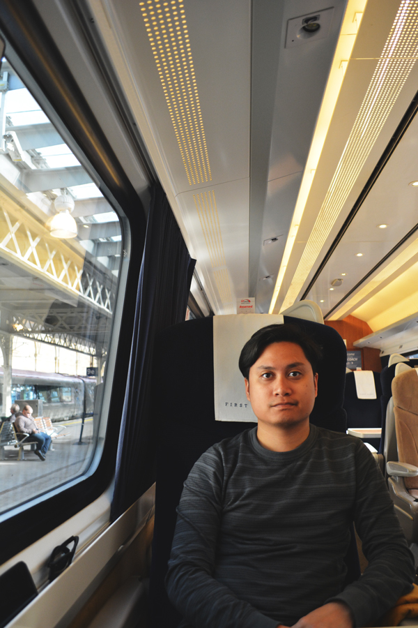 Kevin Banogon enjoys his first train ride on the East Coast train to London.