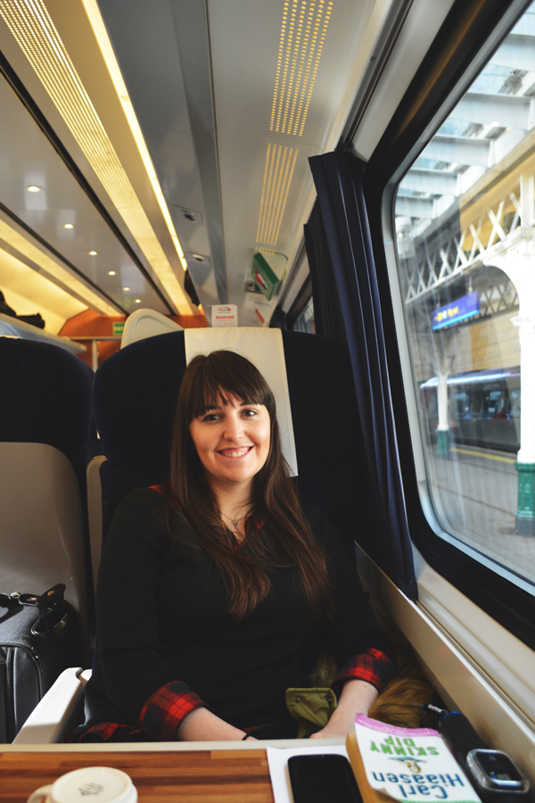 Meredith Lambert Banogon enjoys her first train ride on the East Coast train to London.