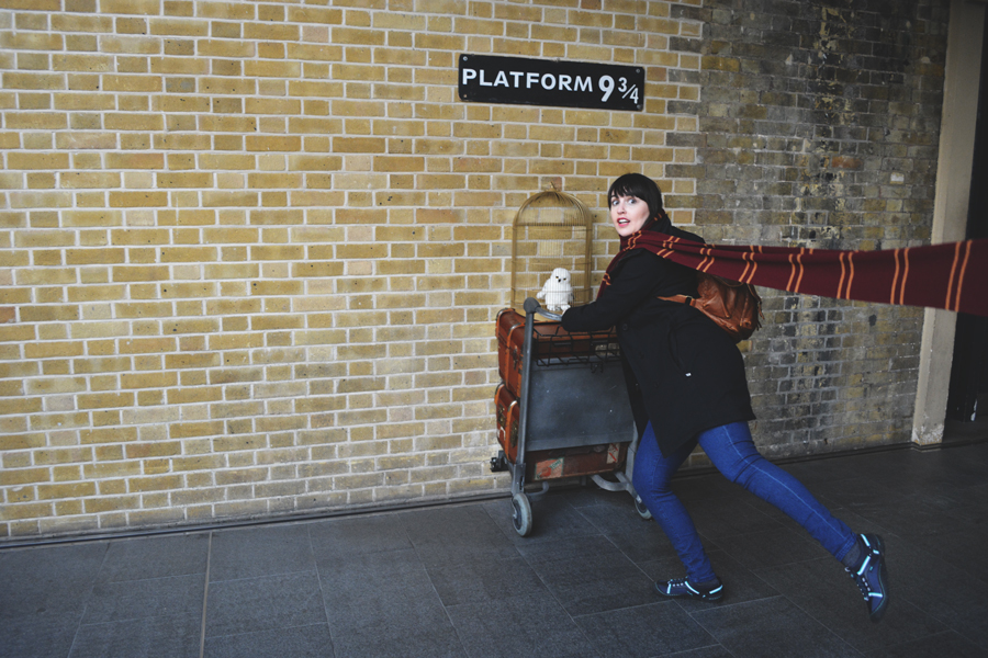Meredith Lambert Banogon visits Platform Nine and Three Quarters at King's Cross Station in London.