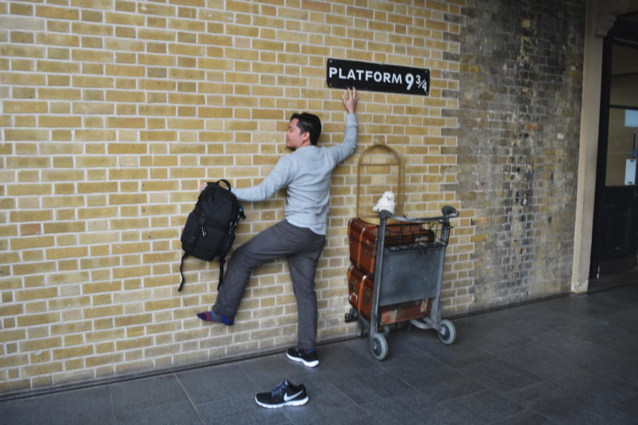 Kevin Banogon visits Platform Nine and Three Quarters at King's Cross Station in London.