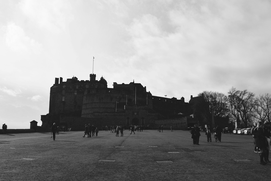 Black and white photo of Edinburgh Castle in the heart of the capital of Scotland.