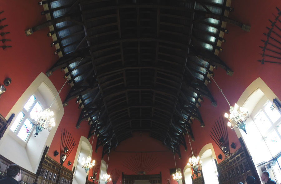 The original ceiling inside of the Great Hall of the Edinburgh Castle.