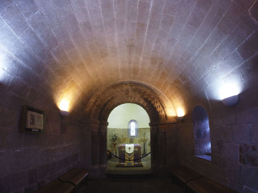The interior of St. Margaret's Chapel on the grounds of the Edinburgh Castle.