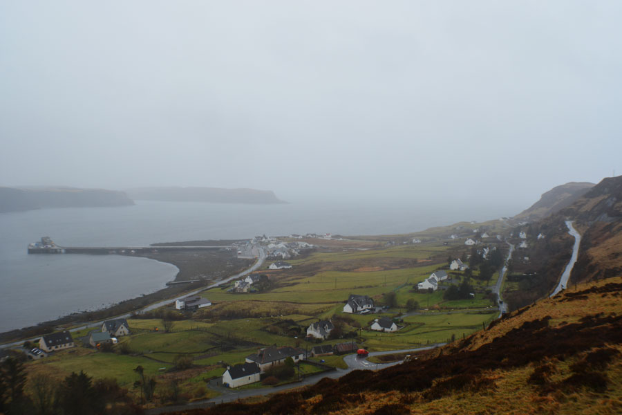 A view over the homes on the Isle of Skye seen during a honeymoon in Scotland.