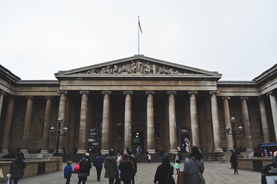The entrance to the British Museum in London, England.