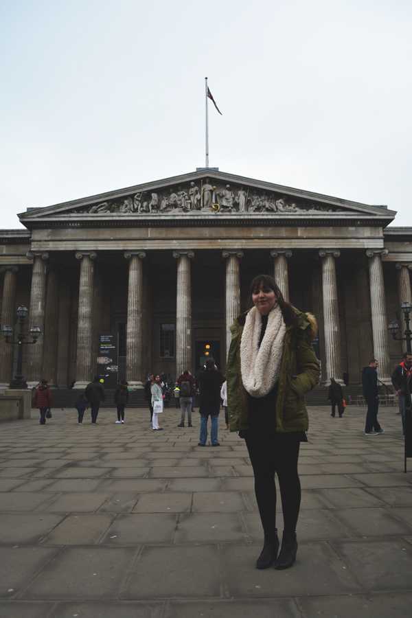 Meredith Lambert Banogon stands outside the British Museum during her honeymoon in England.