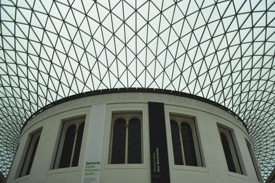 Detail shot of the roof of the interior courtyard of the British Museum in London, England.