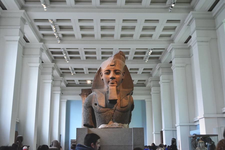 The stone bust of great pharaoh Ramesses II stands tall over the Egyptian sculpture room at The British Museum.