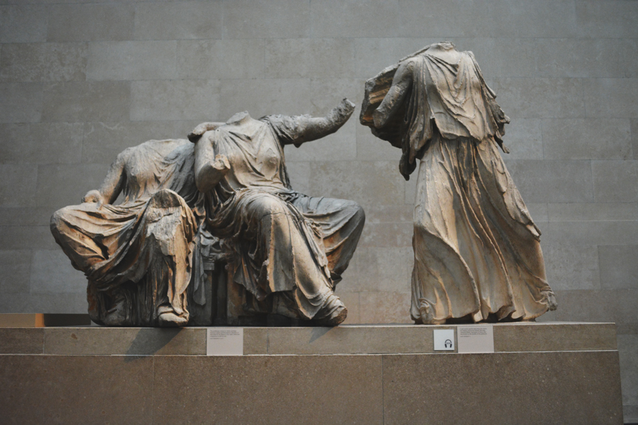 The marble sculptures of the Parthenon are preserved in the galleries of the British Museum.