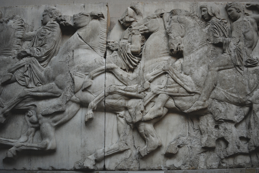 This Parthenon frieze shows an ongoing story of movement in battle.