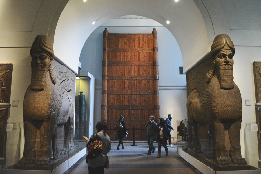 The Colossal winged lion statues from the North-West Palace of Ashurnasirpa flank your entry to the next gallery.