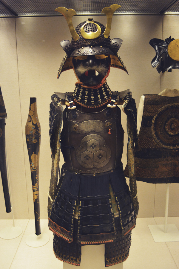 A full Samurai suit on display at the British Museum in London, England.