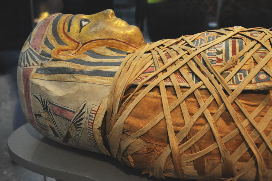 Egyptian mummies on display at the British Museum in London, England.