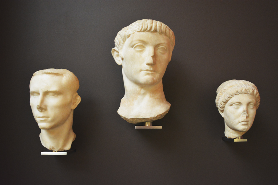Beautifully sculpted Roman faces on display at the British Museum.