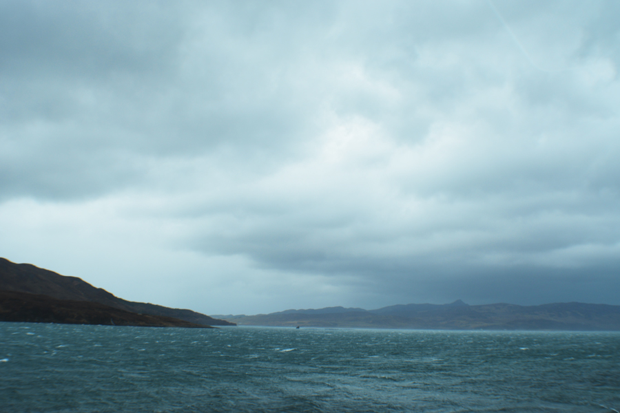 The turbulent ocean off the coast of Scotland during a storm.
