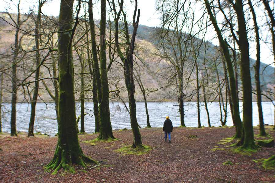 Meredith Lambert Banogon wanders through the mossy trees on the shore of Loch Oich.