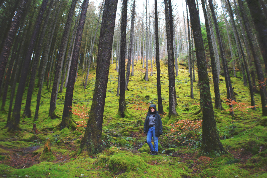Meredith Lambert Banogon poses in the Craig Liath Wood during her road trip to Edinburgh.