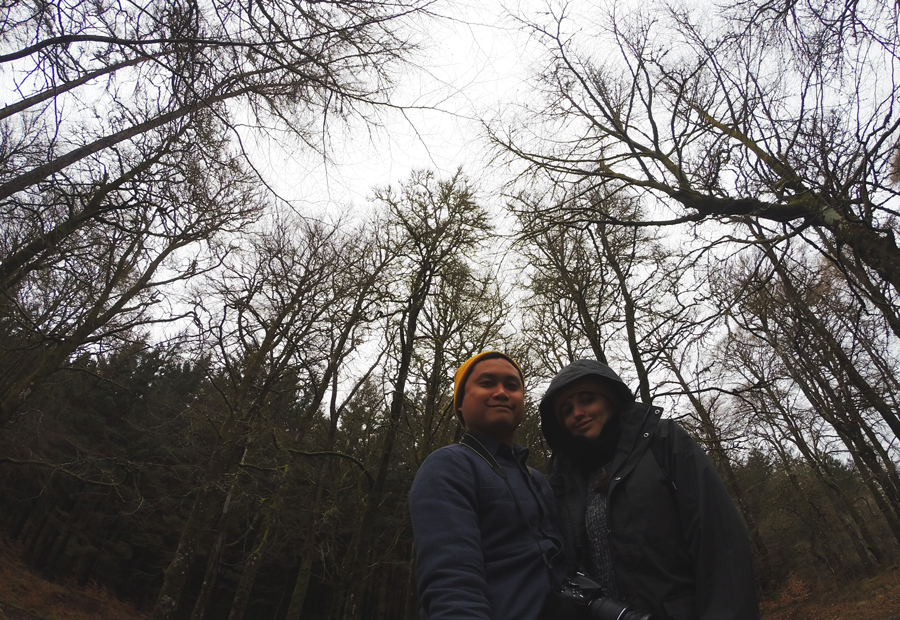 Kevin Banogon and Meredith Lambert Banogon take a selfie in the Craig Liath Wood during their honeymoon in Scotland.