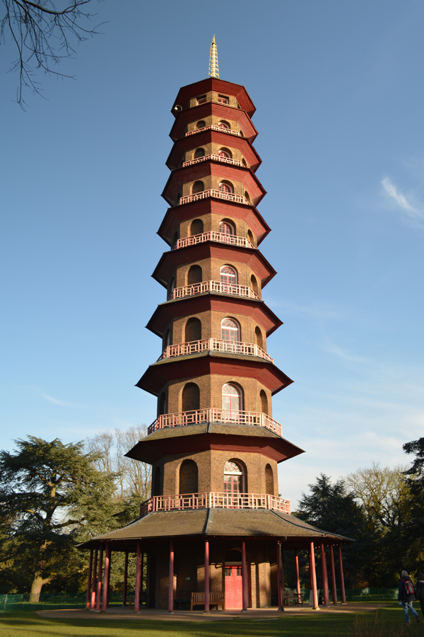 The Great Pagoda towers over the grounds of the Royal Botanic Gardens at Kew.