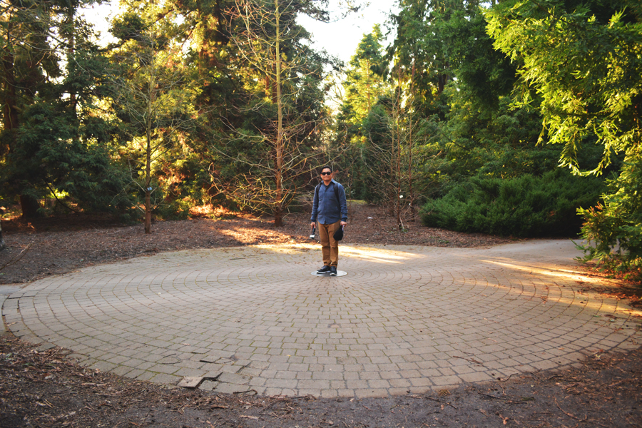 Kevin Banogon stands in the center of the circumference of a redwood tree while visiting the Royal Botanic Gardens at Kew in London, England.
