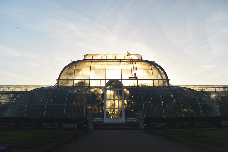 The front of the Palm House at the Royal Botanic Gardens at Kew taken at sunset.