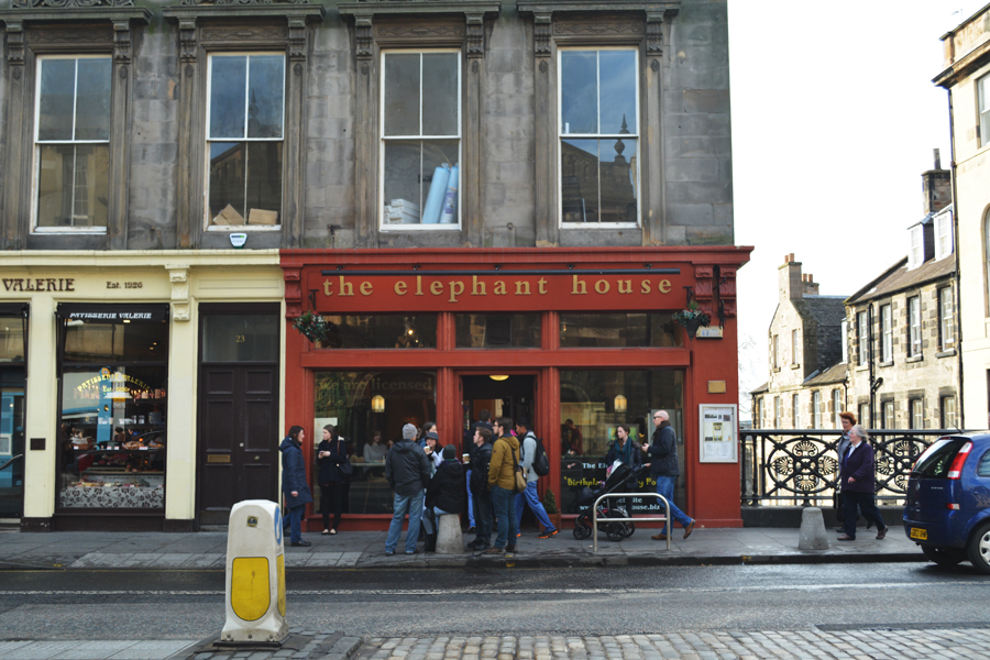 The unassuming front of the Elephant House in Edinburgh, the birthplace of Harry Potter.
