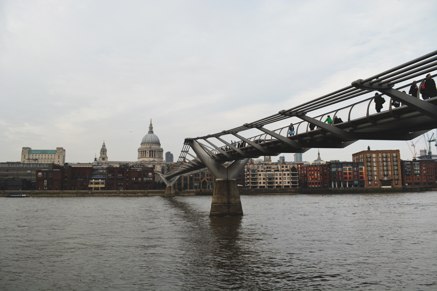 The Millennium Bridge in  London is a pedestrian footbridge over the Thames River.