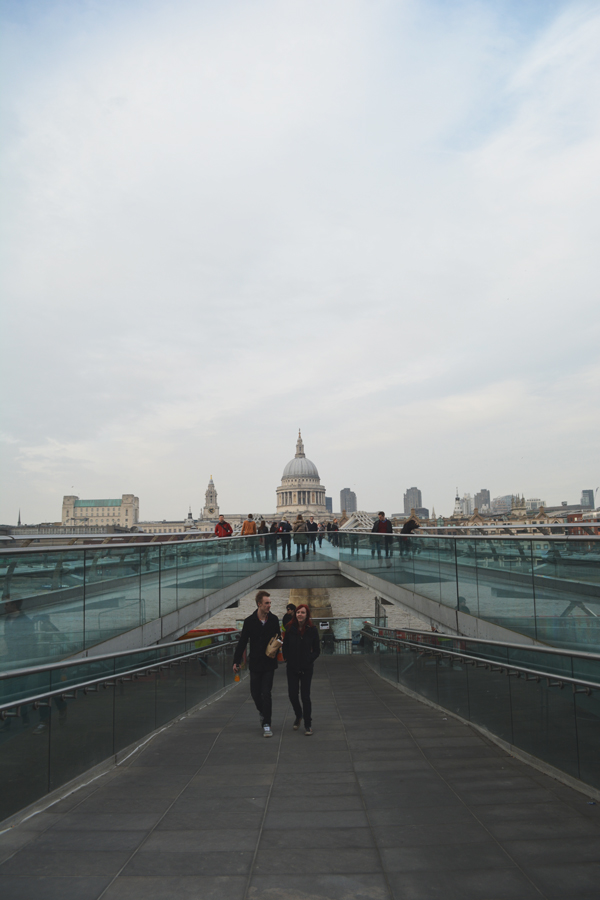 The ramped descent of the Millennium Bridge that connects St. Paul's Cathedral to the Tate Modern.