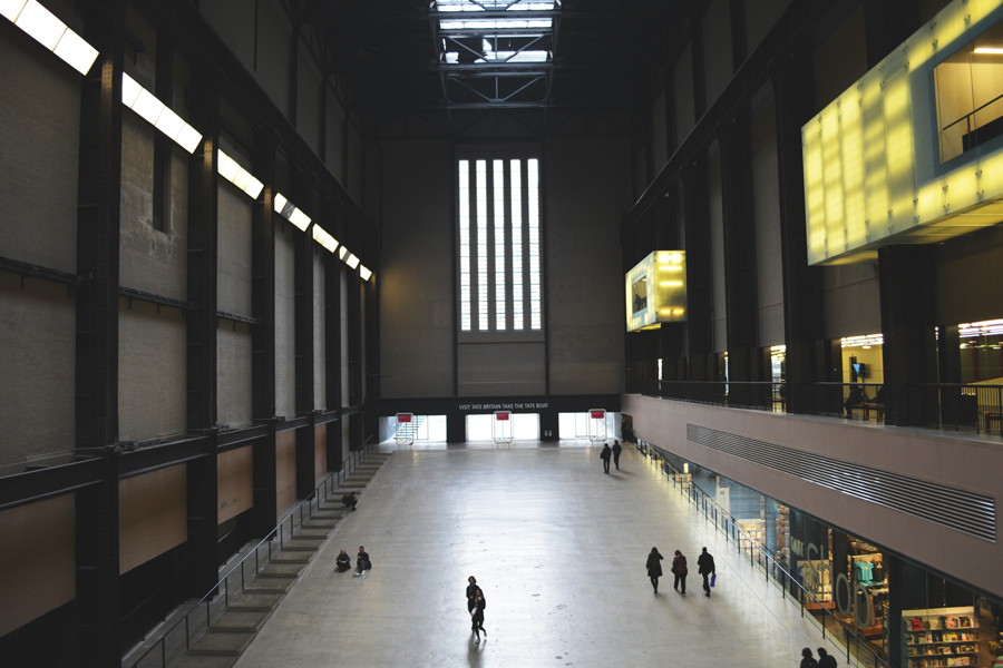 The interior of the Tate Modern, a collection of modern art in London, England.
